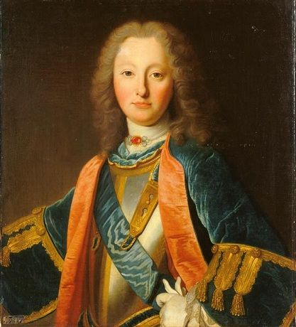 Louis-Charles de Bourbon, 24e. Prince de Dombes et Comte d'Eu (1701 - 1775), Duc d'Aumale et de Gisors, Prince souverain de Dombes, Comte de Dreux, Prince d'Anet, Baron de Sceaux. Il fut le fils cadet du Duc du Maine, petit-fils du roi Louis XIV,  succésseur de son frère aîné en tous ses titres en 1755 et dernier Grand-Maître de l'Artillerie de France. En 1762 il échangea la principauté souveraine de Dombes contre le duché de Gisors et d'autres terres. / Portrait de 1727.