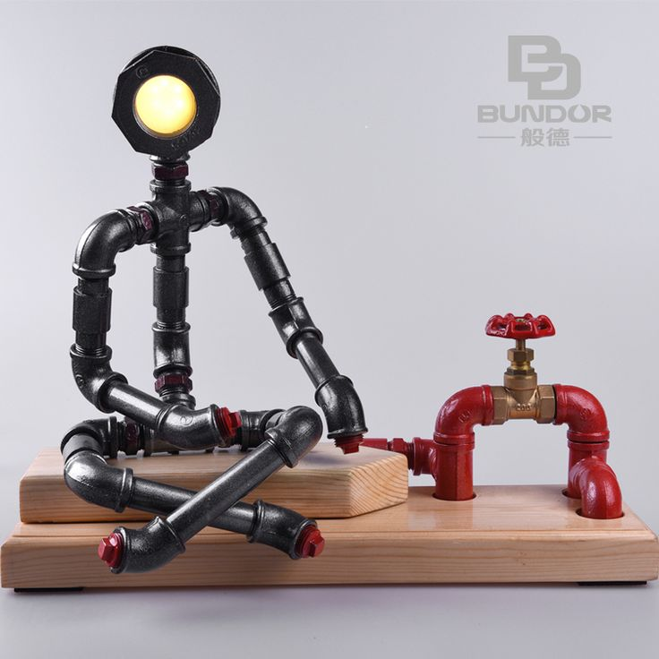 Robot Shaped Vintage LED Table Lamp For Bedroom Industrial Loft Table Lamps  Foru2026