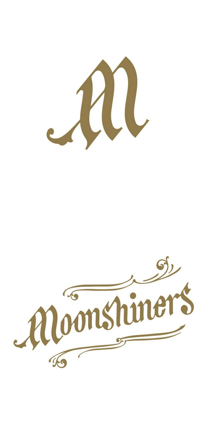 Logo design for the music band 'Moonshiners' using elements of calligraphy and lettering.