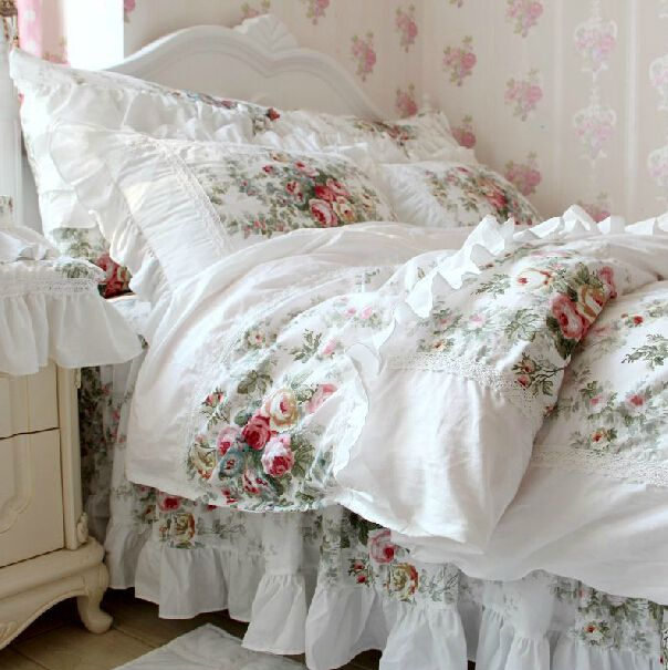 Princess pastoral bedding sets,twin full king queen girl,romantic nordic rustic bedclothes cotton bedskirt pillow quilt cover