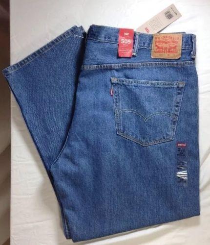 Levis 505 Big & Tall Jeans 52x30 Mens Straight Leg Medium Wash Denim Blue NWT
