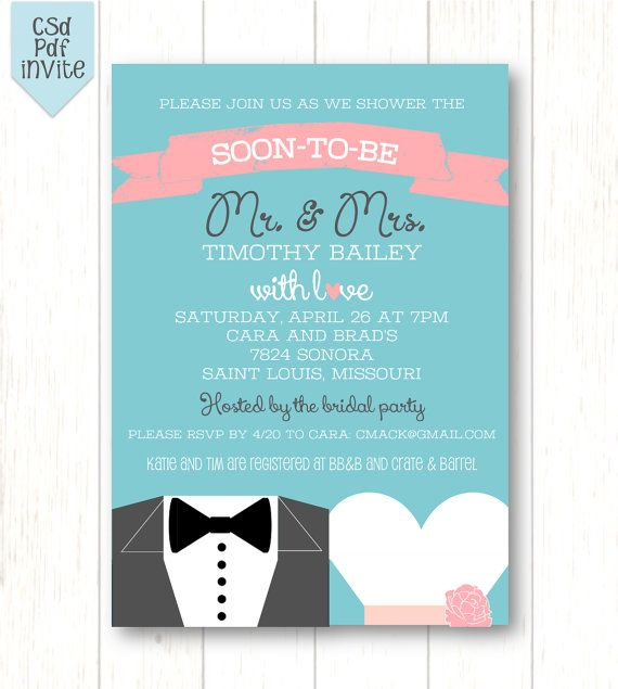 Future Mr. & Mrs. - Couples Shower OR Bridal Shower Invite - - 5x7 Printable on Etsy, $13.00