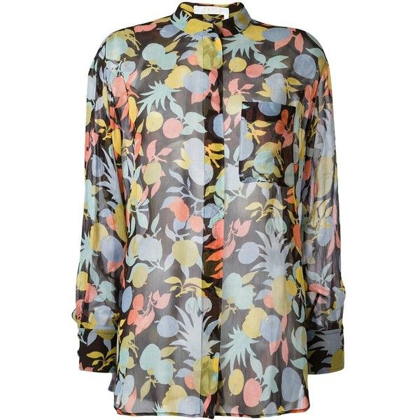 Chloé fruit print blouse ($598) ❤ liked on Polyvore featuring tops, blouses, black, multi color blouse, chloe blouse, long sleeve blouse, multicolor blouse and silk tops