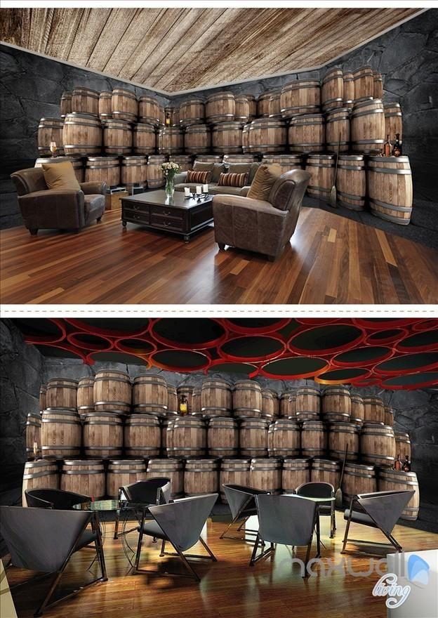 Cellar Oak Barrels Theme Space Entire Room Wallpaper Wall Mural