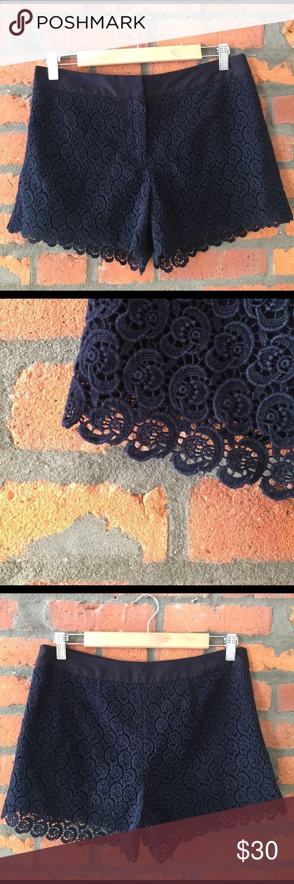 Club Monaco Black Crochet Shorts Black lined crochet shorts with double hook + button closure Club Monaco Shorts