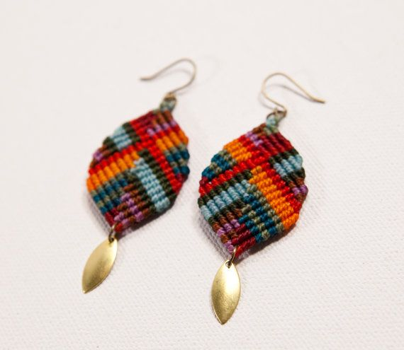 Bright, colorful and super lightweight, these hand knotted macrame earrings are fun and easy to wear. A new take on a classic design with a simple