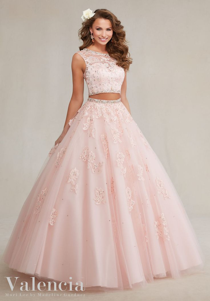 89088 Two-Piece Tulle with Beaded Lace Appliques Quinceanera Dress