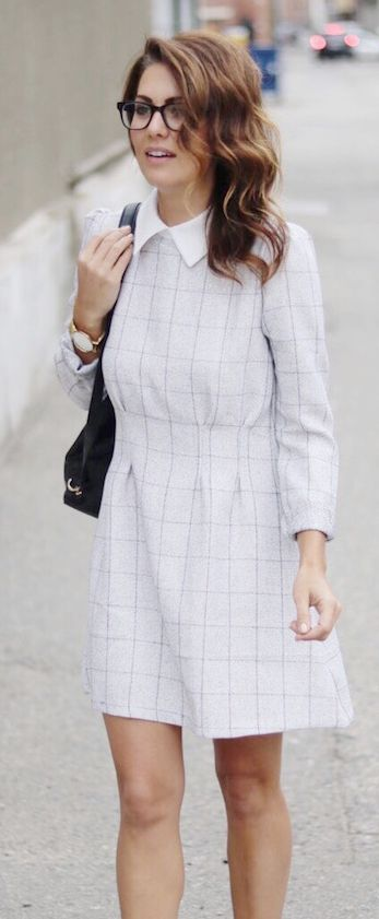 Jillian Harris White Collar Grid Print Dress Fall Inspo women fashion outfit clothing stylish apparel @roressclothes closet ideas