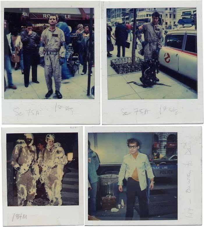 Polaroids of Ivan Reitman, Bill Murray, Dan Aykroyd, Ernie Hudson & Rick Moranis behind the scenes on the set of #Ghostbusters (1984).