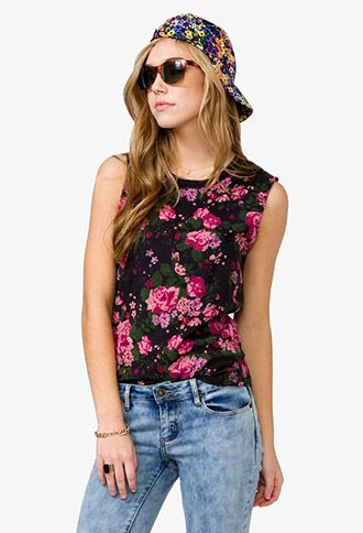 Distressed Rose Muscle Tee | FOREVER21 - 2018628563