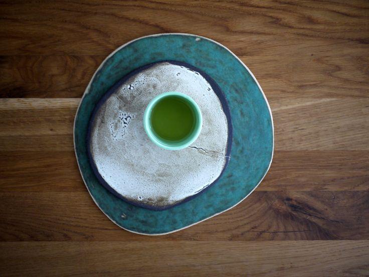 handmade ceramic plates and mug with matcha tea, green off white colours, tableware, dinnerware