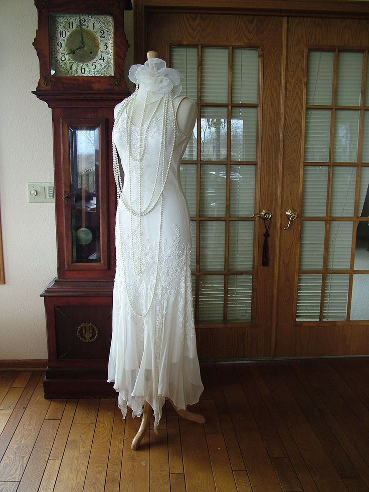 1920s Flapper Wedding dress scarf bottom sequin great gadsby vintage style bridal gown. $435.00, via Etsy.