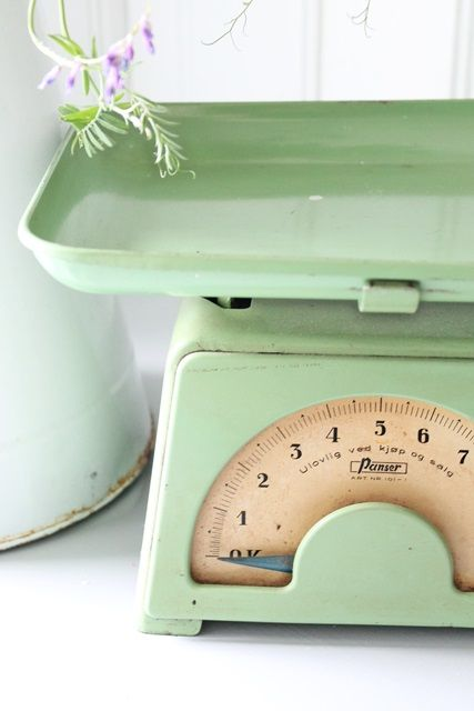 Vintage scale #green #kitchen #cooking