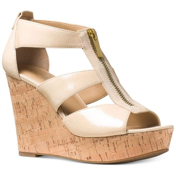 Michael Michael Kors Damita Platform Wedge Sandals ($110) ❤ liked on Polyvore featuring shoes, sandals, ecru, red sandals, cork platform sandals, cork wedge platform shoes, michael kors and red wedge shoes