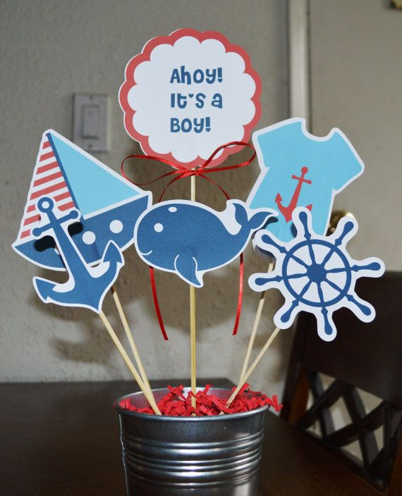 Nautical baby shower boy 12 pieces by beescreations13 on for Baby boy shower decoration kits