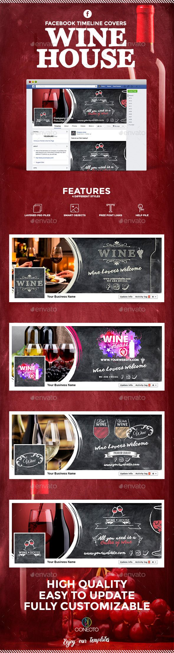 Facebook Timeline Cover - Wine House Template PSD #design Download: http://graphicriver.net/item/facebook-timeline-cover-wine-house/11892511?ref=ksioks