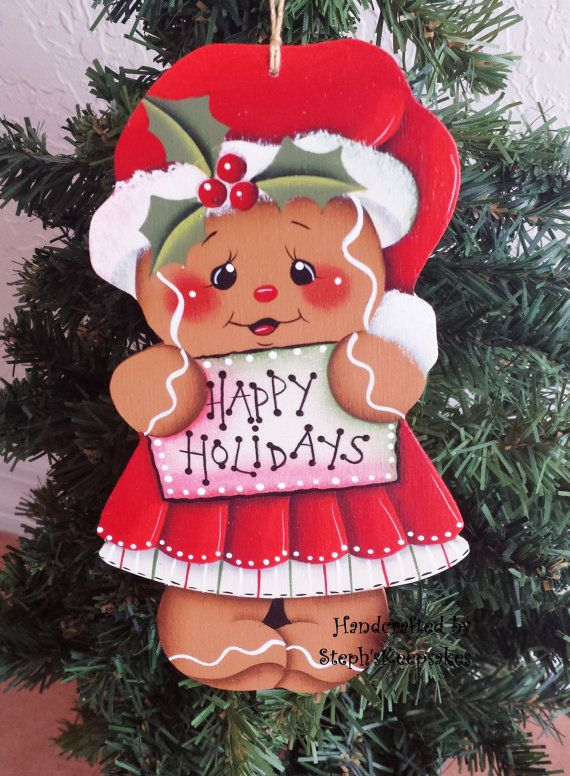 Handpainted Wooden  Christmas Gingerbread  Cookie, Christmas Ornament, Happy Holidays
