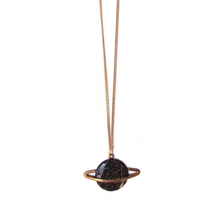 Saturn Necklace Black