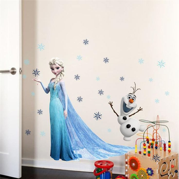 뜨거운 판매 엘사 영화 벽 스티커 아이 방 홈 장식 diy pvc 만화 필름 데칼 소녀 소년 선물 3d 벽화 예술