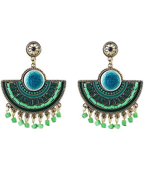 boucle d'oreille ornée de franges perles -vert