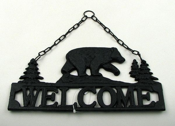 Bear Hanging Welcome Sign