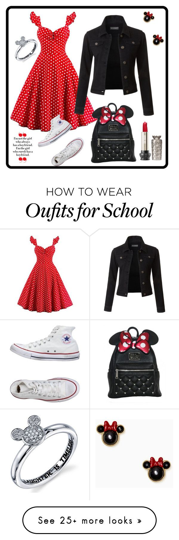 """""""Minnie in School"""" by bearigodon on Polyvore featuring LE3NO, Disney, Converse and Kate Spade"""