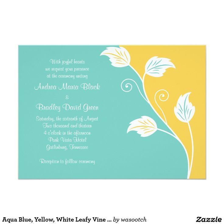 aqua blue and yellow wedding invitations - 28 images - yellow ...