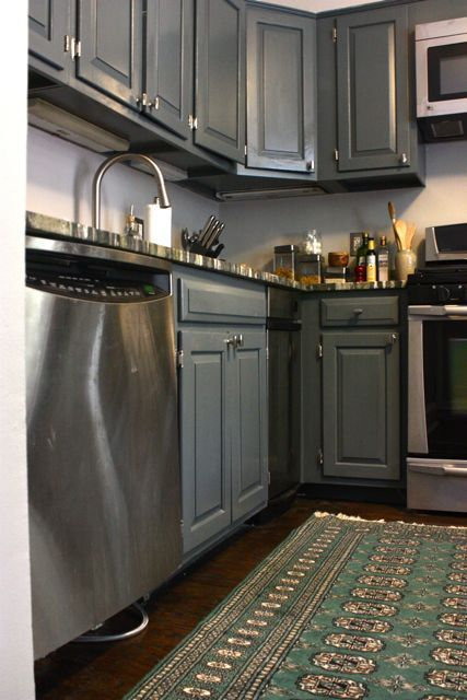 Slate gray cabinets divine places and spaces pinterest for Paint kitchen units grey