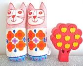 Original Scandinavian style 70s fabric handmade cat toy plush softie by Jane Foster