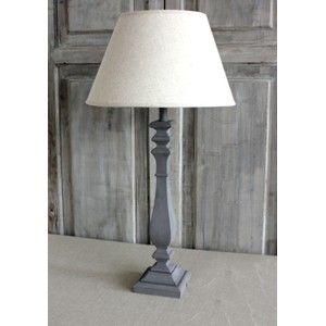 Biggie Best Table Lamp / Grey Wooden Base & Linen Shade Set
