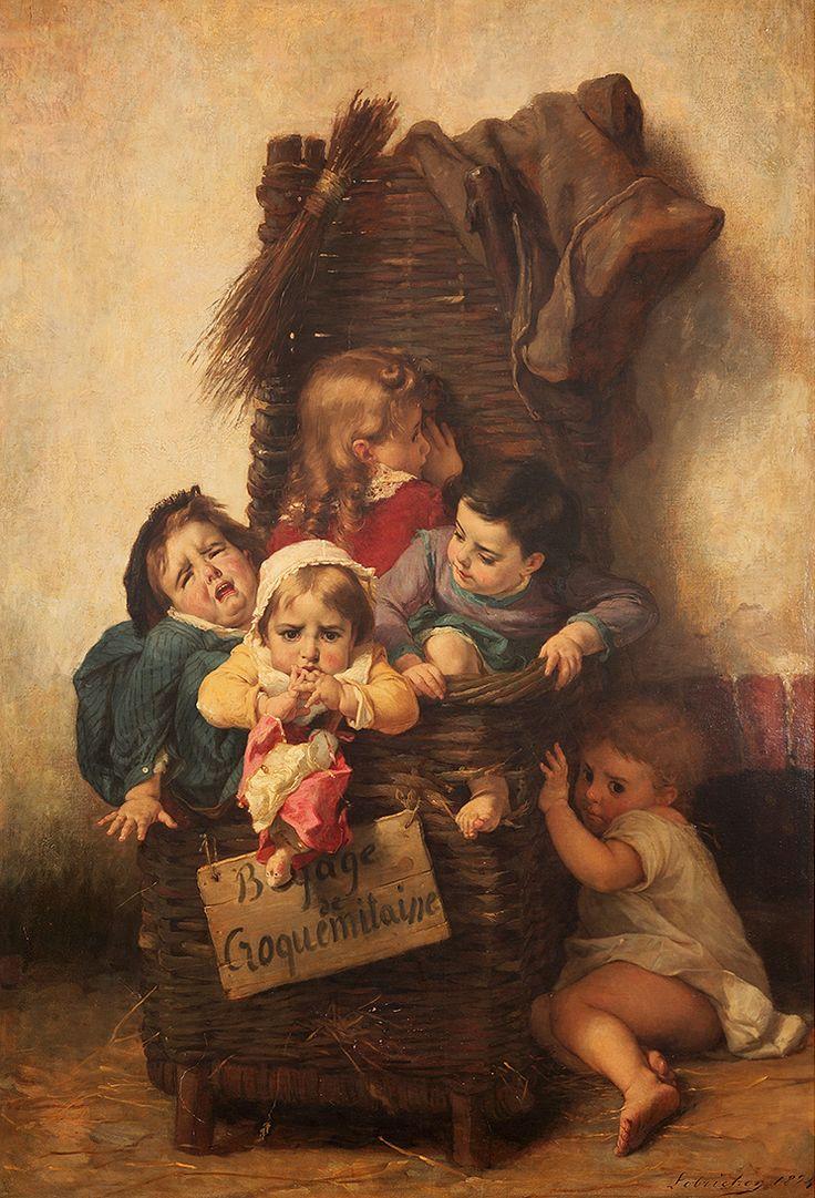 Timoléon Marie Lobrichon (français, 1831 - 1914) Le Bagage du Croque-Mitaine , 1874 . with a doll