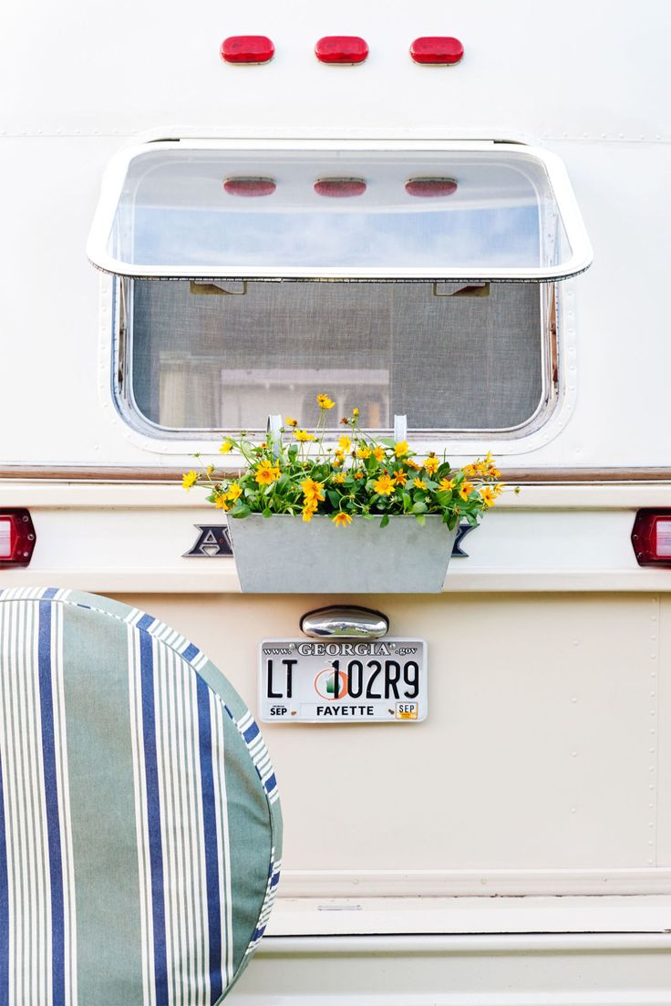 Airstream Makeover - Travel Trailer Decor - make a cute spare tire cover! Once everything else was done of course lol