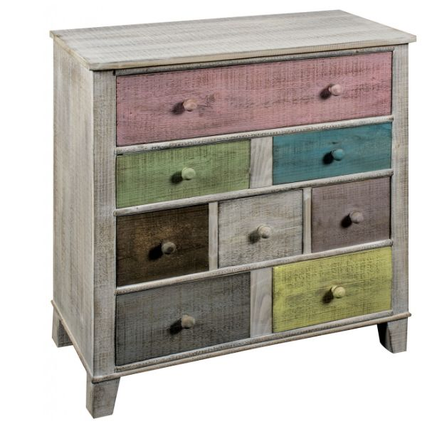 8 Multicoloured Drawer Timber Chest – Allissias Attic