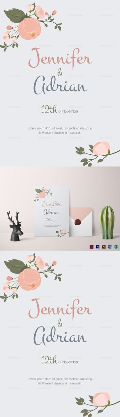 Apple Blossom Wedding Invitation Template - $12, High quality & printable design layout, Edit easily on your favourite app. Formats Included :Illustrator, InDesign, MS Word, Photoshop, Publisher