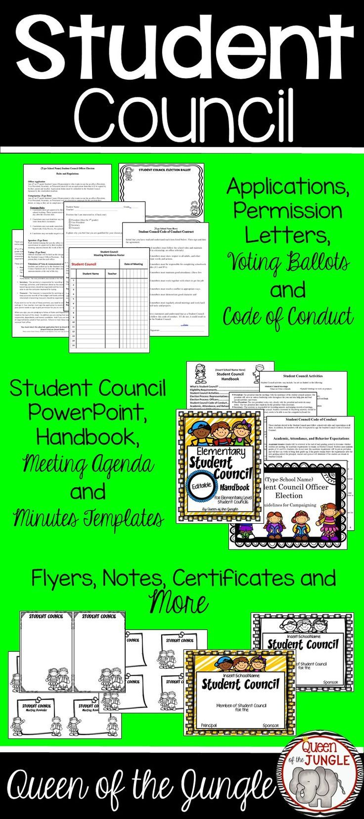 Student Council Packet - Editable - Everything you need to run an Elementary Student Council.