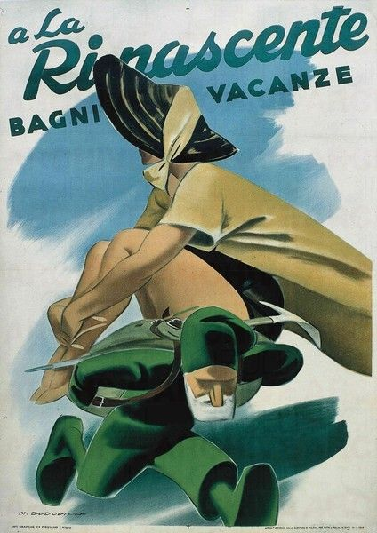 Vintage Italian Posters ~ A-La-Rinascente-BAGNI-VACANZE-1949