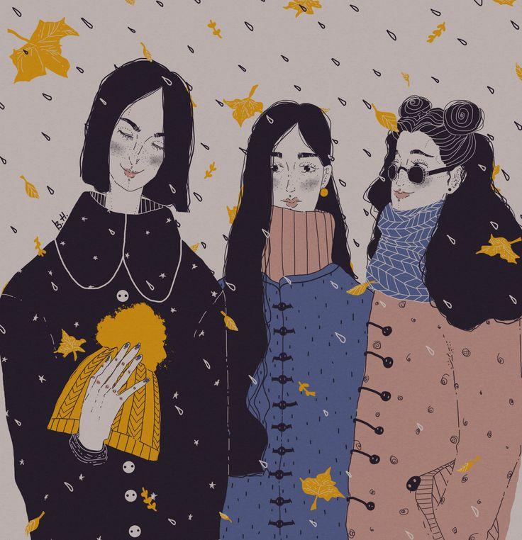 Посмотреть иллюстрацию Kita - Три сестры и оранжевая шапочка.