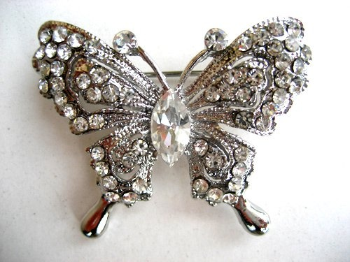 Cute Clear Crystal Rhinestone Silver Tone Vintage Inspired Butterfly Broach Pin