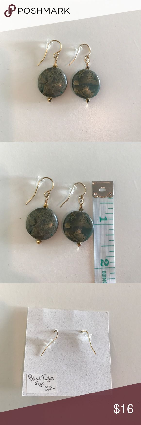 Blue Tigers Eye stone earrings with gold New, never worn. Quality item made by designer in Michigan. Comes with gift bag (pictured). Jewelry Earrings