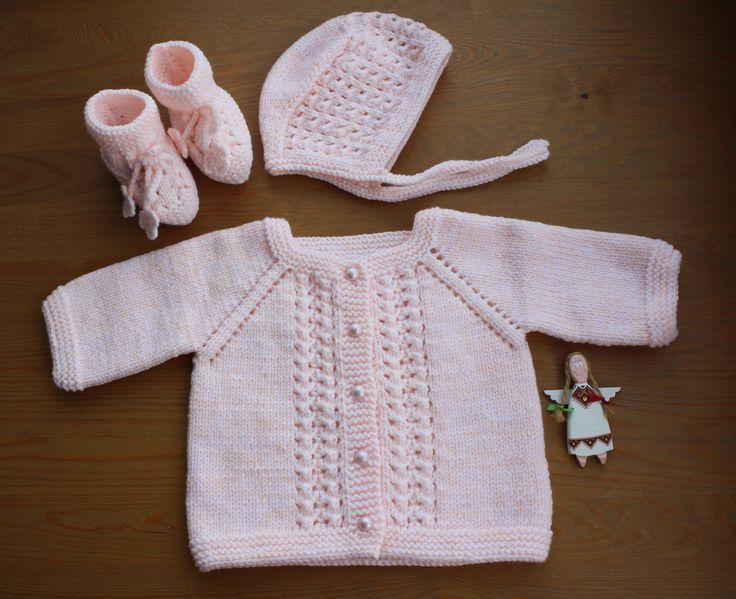 Baby CARDIGAN, BOOTIES, HAT Set. Hand-Knitted Baby Cardigan Baby Booties Crochet Vintage Style Baby Hat. Baby  Size For 0-3 Months.