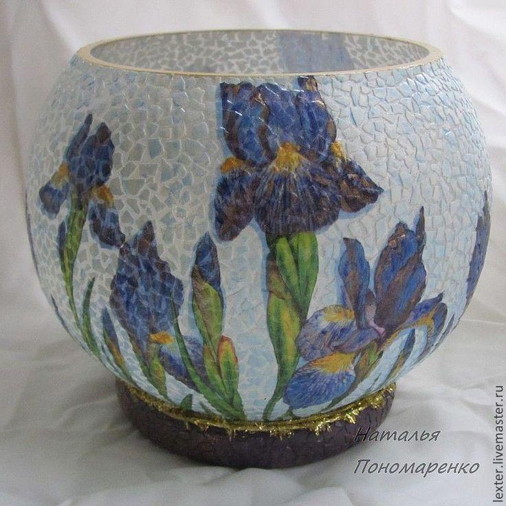 Купить Вазы ручной работы. Стеклянная ваза Ирисы - фиолетовый, ваза для цветов, ваза для сухоцветов