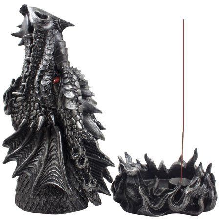 Fire Breathing Dragon Incense Burner / Holder Statue Display Stand for Cones and Sticks for Mythical & Medieval Decor by Home 'n Gifts - Walmart.com