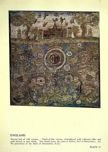 lienzo bordado con hilo de oro y seda de colores siglo XVI.
