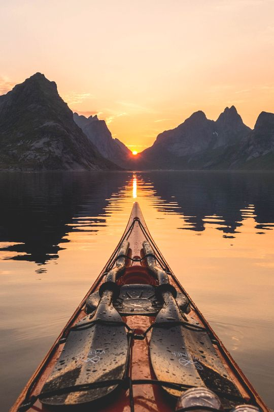 Midnight sun in Reine, Lofoten, Norway