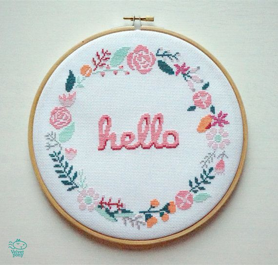 Hello Floral Wreath Counted Cross Stitch PDF Pattern. This pattern is an instant download PDF.  Size: 18 Count Aida, 7 x 7 inches or 18 x 18 cm