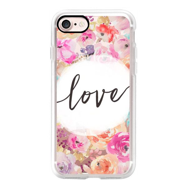 Cute Love Frame With Watercolor Flowers Background - iPhone 7 Case,... (232345 PYG) ❤ liked on Polyvore featuring accessories, tech accessories, iphone case, apple iphone case, iphone cover case, flower iphone case and iphone cases