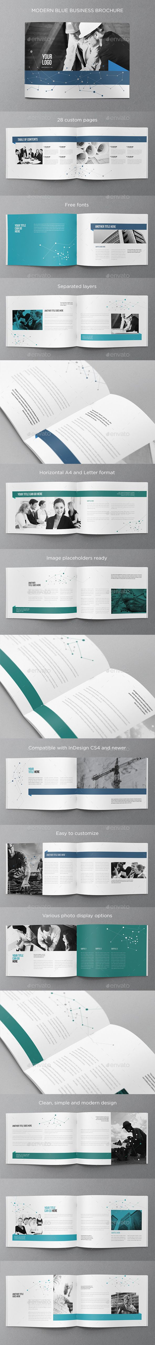 Modern Blue Business Brochure (CS4, 8.5x11, a4, blue, brochure, business, clean, corporate, flexible, letter, minimal, modern, professional, simple, white)
