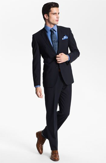 BOSS Black 'Jam/Sharp' Trim Fit Navy Stretch Wool Suit | Nordstrom