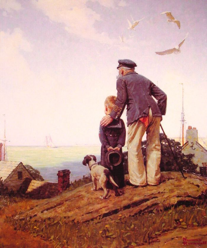 The Stay-at-homes by Norman Rockwell #art I have this pic, Jacob once asked if it was him and Pappap.