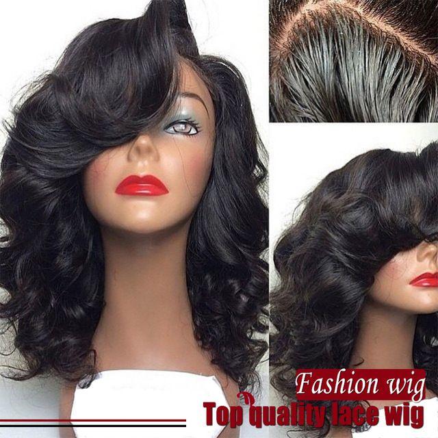 2017 Nouvelle Mode Vague de Corps Perruques Synthétique Avant de Lacet Perruques noir Livraison Partie Gonflable Résistant À La Chaleur Cheveux Perruques Afro-Américain perruques